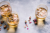 Rose tea with dried rose petals