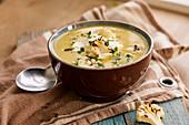 Creamy cauliflower soup with roasted cauliflower