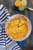 Tart with orange-lemon-lime mousse