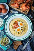 Horseradish soup with smoked salmon and egg