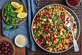 Sweet potatoes, chickpeas, spinach and feta bake