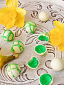 White chocolates with jelly filling for children
