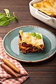 Italian lasagna with beef bolognese ragout and cheese