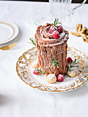 Yule log made from shortbread biscuits (Christmas)