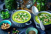 Green peas cream soup with blue cheese