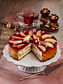 Baked apple and mulled wine cheesecake