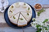 Vegan rhubarb and almond cream cake