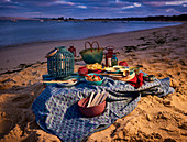 Evening picnic by the sea