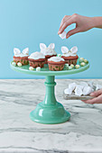Homemade rabbit ears cupcakes with marshmallows