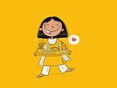 Glückliches indisches Mädchen hält Tablett mit Essen (Illustration)