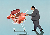 Overweight businessman with shopping cart full of meat