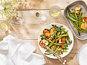 BBQ asparagus with honey halloumi