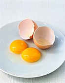 Double yolk egg and a whole brown eggs