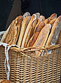 Fresh baked baguettes in a French boulangerie