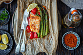 Cod and veggies baked in parchment