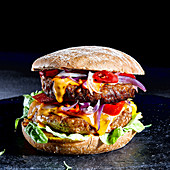 Vegetarian burger with meat substitute