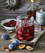 Pickled plums in red wine