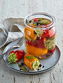 Pickled sweet peppers stuffed with cabbage