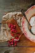 Cranberry cake and porridge