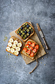 Homemade wholemeal toast with sweet spreads and fruits