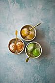 Three types of mochi ice cream made from vanilla ice cream and sticky batter (Japan)