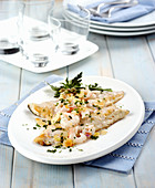 Sea bass with almonds