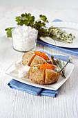Baked potato with herb quark and salmon caviar