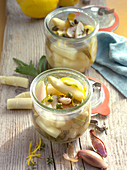 Pickled asparagus with capers and shallots