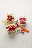 Lemon rice pudding with strawberry sauce