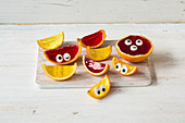 Jelly smilies with sugar eyes
