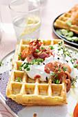 Tarte flambée waffles with bacon and sour cream