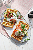 Two savoury waffle variations