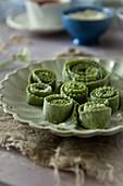 Fresh green lasagnetti