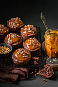 Chocolate Cupcakes with Caramel Topping, Dark Chocolate Shavings and Caramelized Nuts