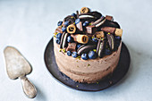Chocolate cake decorated with blueberries, chocolate and cookies
