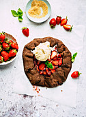 Strawberry and chocolate galette with vanilla ice cream