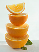Orange halves placed on top of each other