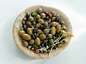 Bowl with black and green olives
