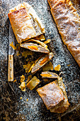 Poppy seed, apricot and curd cheese strudel