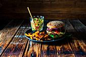 Wild boar burger with pumpkin fries