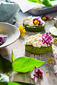 Nettle cakes with curd cream