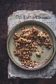 Homemade granola on a plate