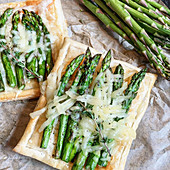 Asparagus and Gruyere Cheese Tarts on Puffed Pastry Crust