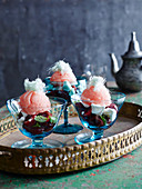 Moroccan Watermelon Sorbet with Cherry Mint Salsa