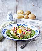 Light salad prepared from vernal potatoes