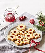 Linzer Christmas cookies (stars)
