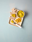 Vegan curry corn spread with cashew nuts
