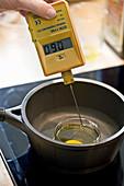 Making confit eggs (molecular cuisine)