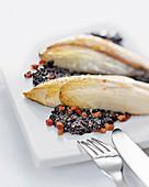 Chicory on caramelized lentils (molecular cuisine)