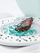 Blue Curacao gel cubes - with roasted pink liver (molecular cuisine)